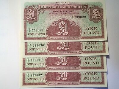 4 X  British Armed Forces one pound notes. Unc. &  Cons.