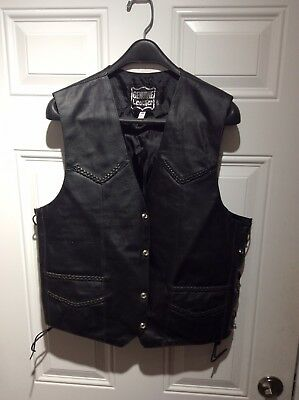 Mens Leather Motorcycle Vest Size 44
