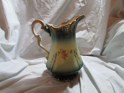 Antique Sterling Porcelain Ceramic Handpainted Pitcher, Green with Gold Trim