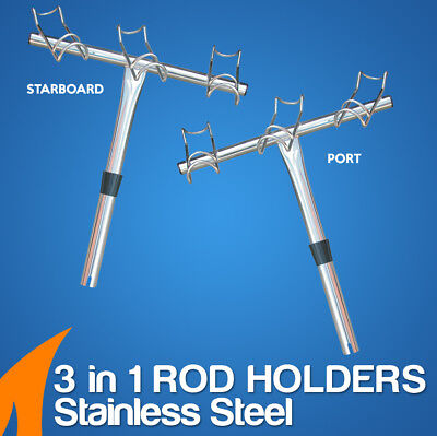 Rod Holder 3 in 1 fishing 3 way dual ring Stainless Steel (Port & Starboard)