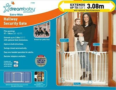 HUGE DREAMABABY GATE COMBO * GATE + 2 X 100CM EXTENSIONS * Areas 2.97m - 3.08m *