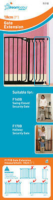 DREAMBABY STANDARD SAFETY GATE EXTENSION 18CM ** 75cm high * Black or White