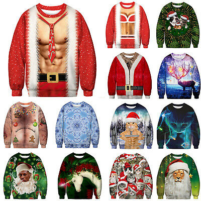 Mens Christmas 3D Ugly Sweatshirt Holiday Jumpers Sweater Pullover Xmas Tops AU