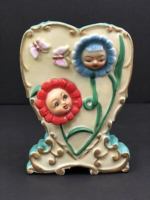 Vintage Anthropomorphic Flower Face Wall Pocket Japan Kitschy Cute Red Blue Baby