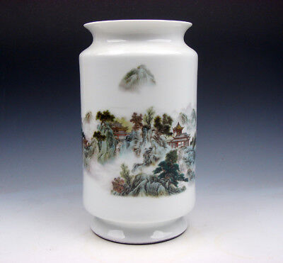 Vintage Porcelain Mountains Scenery Hand Painted Unique Chinese Vase #05041805