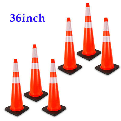 "6X 36"" Traffic Cones Overlap Parking Construction Emergency Road Safety Cone NEW"