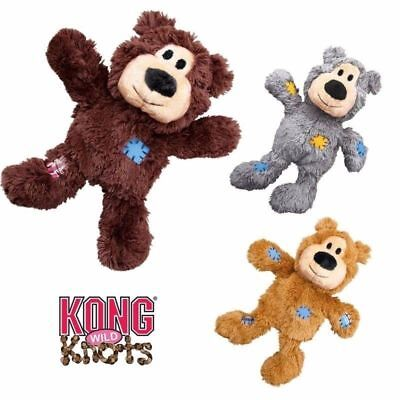 Kong Wild Knots Dk Brown Plush Bear Squeaky Dog Toy Knotted Rope For Strength