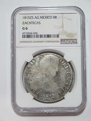 Mexico 1815 Zs Ag 8 Reales Zacatecas Silver Ngc G-6 World Coin Collection Lot