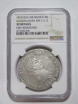 Mexico 1813/2 Ga Mr 8 Reales Guadalajara Silver Ngc Xf-D Old Coin Collection Lot