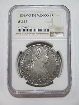 Mexico 1807 Mo Th 8 Reales Colonial Silver Ngc Au55 World Coin Collection Lot