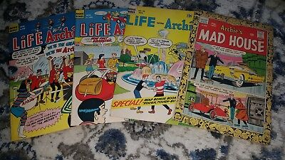 Life with Archie #31(1964)#60(1967) #100(1970) Archie's Mad House #52 1967. F/F+