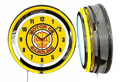 "Shell Motor Oil Gasoline 19"" Double Neon Clock Yellow Neon Chrome Finish"