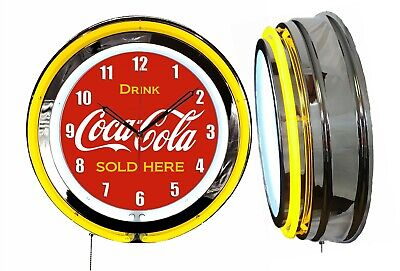 """Drink Coca Cola Delicious and Refreshing 19"""" Yellow Neon Clock Chrome Finish"""