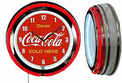 """Drink Coca Cola Delicious and Refreshing 19"""" Red Neon Clock Chrome Finish"""
