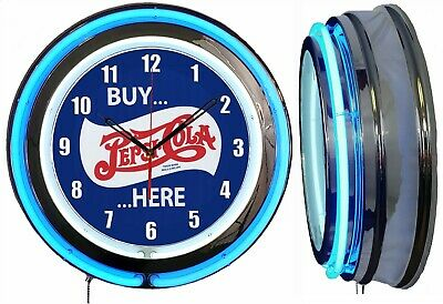 "PEPSI BUY HERE 19"" Double Neon Clock BLUE Neon Clock Mancave Garage Bar"