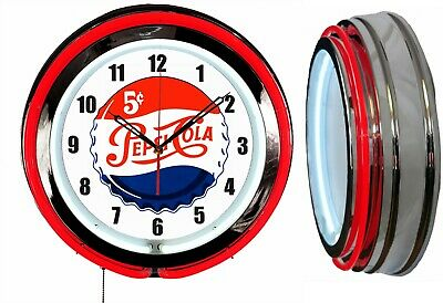 "PEPSI 5 Cents Worth a Dime 19"" Double Neon Clock Red Neon Mancave Garage Bar"