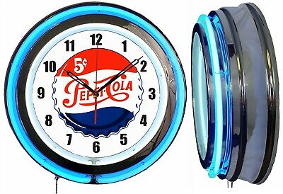 "PEPSI 5 Cents Worth a Dime 19"" Double Neon Clock Blue Neon Mancave Garage Bar"
