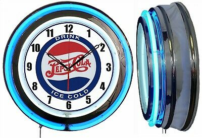 "Drink Pepsi Ice Cold 19"" Double Neon Clock Blue Neon Color Bar Man Cave Garage"