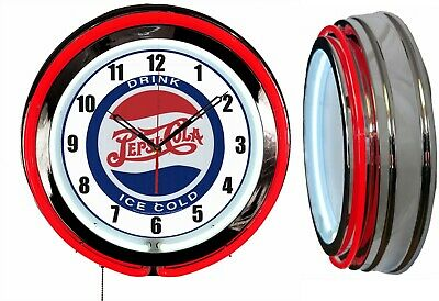 "Drink Pepsi Ice Cold 19"" Double Neon Clock Red Neon Color Bar Man Cave Garage"