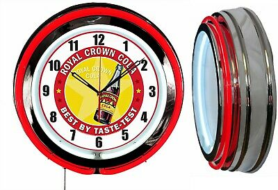 """RC Royal Crown Cola Best by Taste 19"""" Double Neon Red Neon Clock Man Cave Bar"""