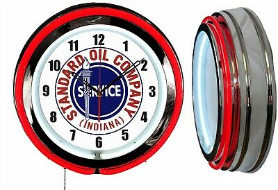 "Standard Oil Company Indiana 19"" Double Neon Clock Red Neon Chrome Finish"