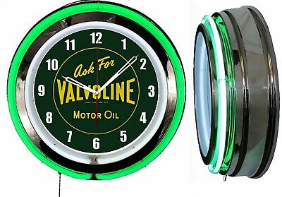 "Ask for Valvoline Motor Oil Vintage Logo Sign 19"" Double Neon Clock Green Neon"