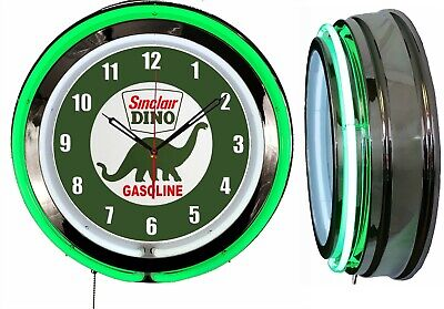 "Sinclair Dino Gasoline 19"" Double Neon Clock Green Neon Chrome Finish"