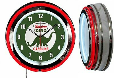 "Sinclair Dino Gasoline 19"" Double Neon Clock Red Neon Chrome Finish"