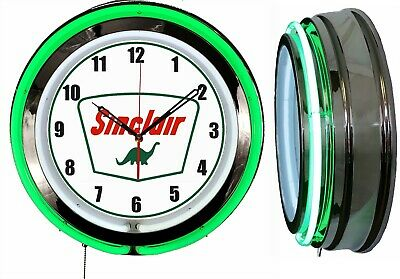 "Sinclair Dino Gas Oil 19"" Double Neon Clock Green Neon Chrome Finish"