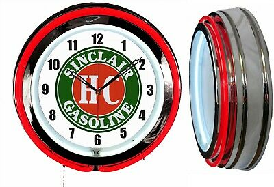 "Sinclair H-C Gasoline 19"" Double Neon Clock Red Neon Chrome Finish"