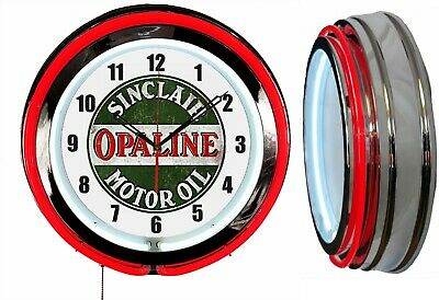 "Sinclair Opaline Motor Oil 19"" Double Neon Clock Red Neon Chrome Finish"