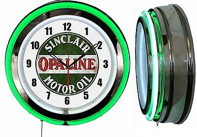 "Sinclair Opaline Motor Oil 19"" Double Neon Clock Green Neon Chrome Finish"