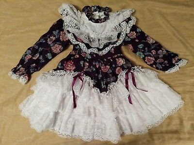 Vintage 3t Full Circle Dress Tie in Back White Lace Ruffles Purple Floral Print