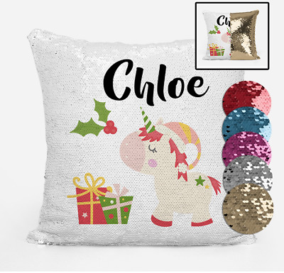 Christmas Unicorn Gifts Magic Sequin Cushion Cover Personalised with Any Name
