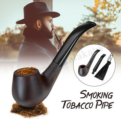 High-end Double Handle Ebony Wooden Smoking Pipe Tobacco Cigarette Cigar Pipe