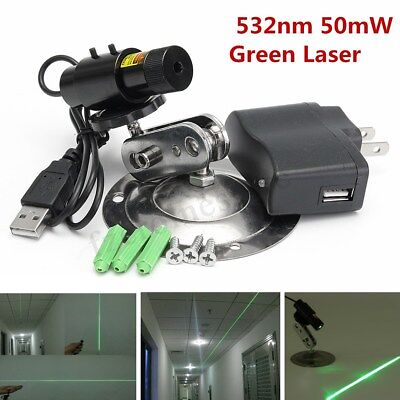 Green Line Diode Laser Module Locator 50mW 532nm Beam Light & Adapter +