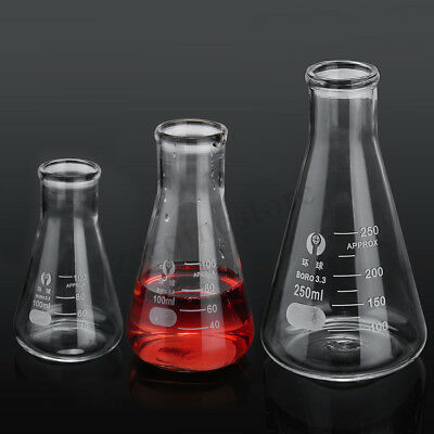 Conical Flask Erlenmeyer Laboratory Borosilicate Glass Glassware 50 100
