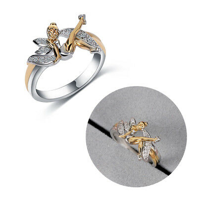 GOLD PLATING FANTASY Elf Angel Two Tone Cubic Zirconia Wings
