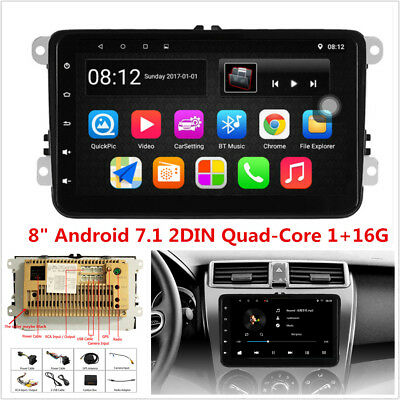 """8"""" Android 7.1 Quad-Core Car Stereo Radio GPS Navigation For VW EOS PASSAT GOLF"""