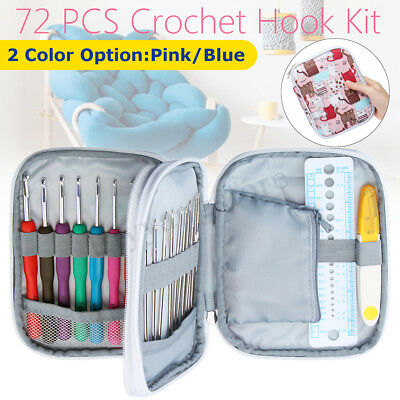 72pcs DIY Crochet Hooks Kit Yarn Knitting Needles Sewing Tools Grip Bags Set