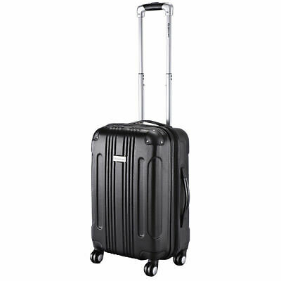 "GLOBALWAY Black Expandable 20"" ABS Carry On Luggage Travel Bag Trolley Suitcase"