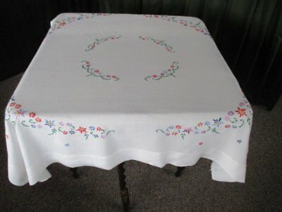 Vintage Tablecloth Hand Embroidered Pretty Small Flowers