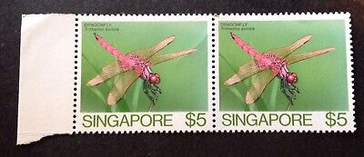 Singapore 1985 Pair Of $5.00 Insect Stamps Mint Mnh