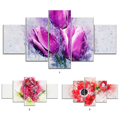 Tulips Rose Flowers Canvas Print Painting Framed Home Decor Wall Art Poster 5Pcs