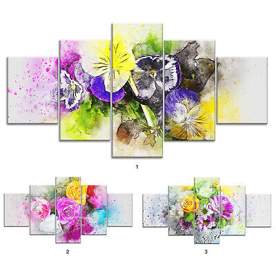 Flower Bouquet Abstract Canvas Print Painting Framed Home Decor Wall Art Poster