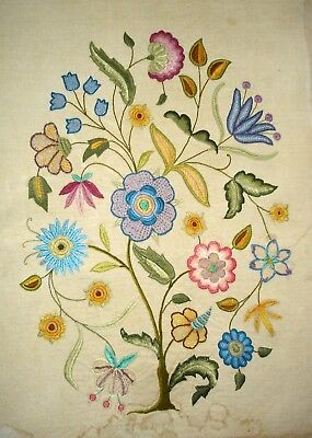 Hand Embroidered Large Unframed Linen Picture Jacobean Floral Display