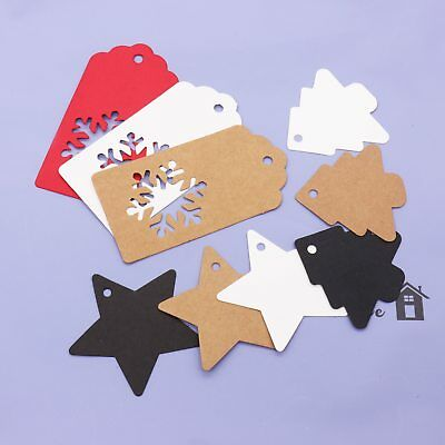 100pcs Paper Christmas Tree Hang Tags Snowman Star Gift Card Labels Ornaments