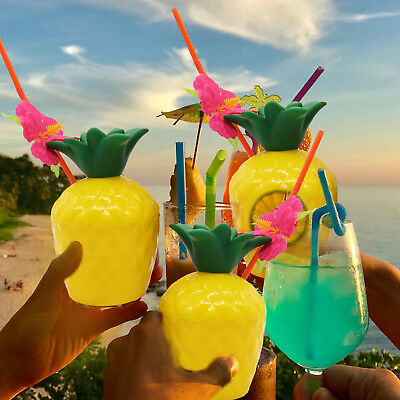 Tropical Pineapple Coconut Drink Cup Hawaii Party Plastic Cups with Flower Straw