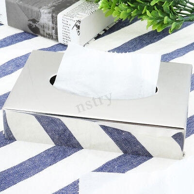 2x Chrome Colour Tissue Container Box Napkin Holder Hotel Bedroom Office Hotel