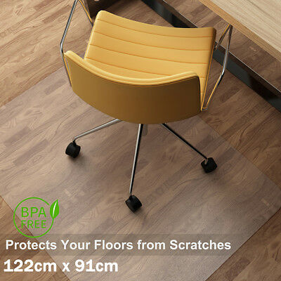 122x91cm Tranparent PVC Mat Home Office Hard Protector Desk Floor Chairs